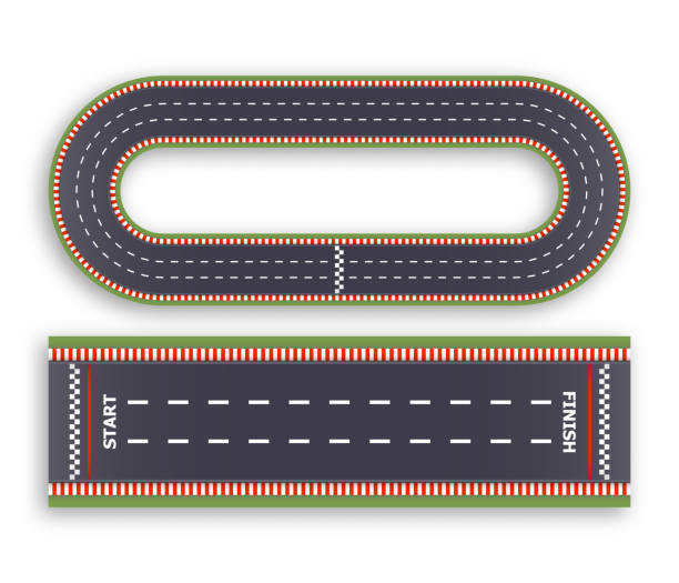 マリオカートのレースの背景。平面図です。アスファルトおよび循環トラックの道を行します。完了し、行を開始します。ベクトルの図。 - スタジアム点のイラスト素材/クリップアート素材/マンガ素材/アイコン素材