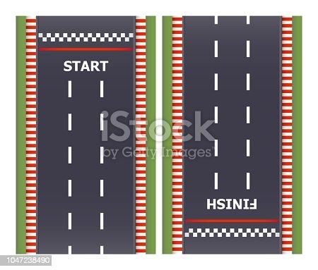 Kart race background. Top view. Line asphalt track road. Finish and start lines. Vector illustration.