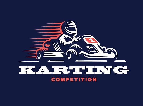 Kart racing winner vector art illustration