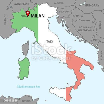 istock Karta över Italien 1068492886