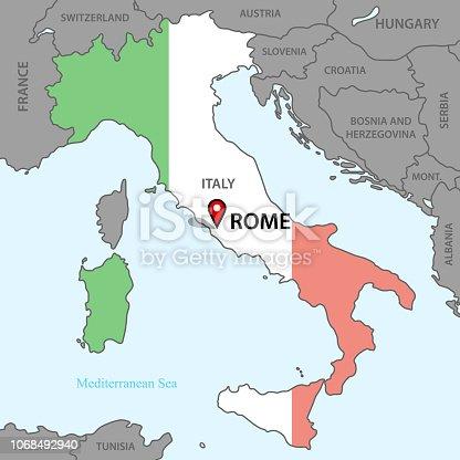 istock Karta över Italien 1068492940
