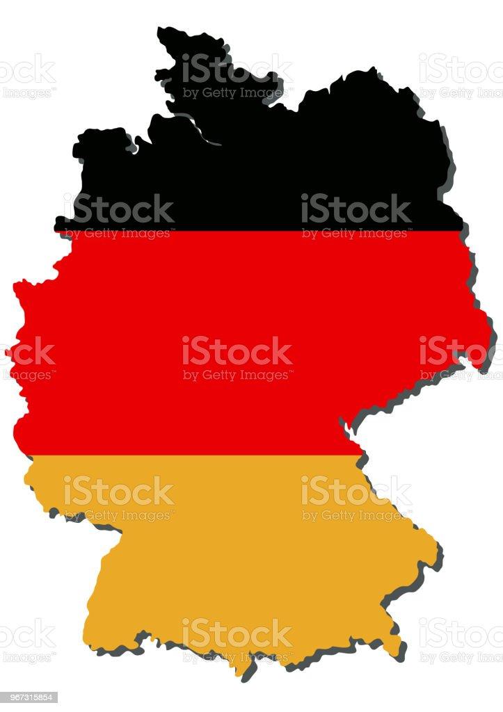 Kartenausschnitt von Deutschland in schwarz, rot, gold. vector art illustration