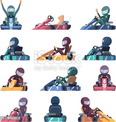 istock Karting cars. Fast racers speed karting machines on road vector cartoon illustrations 1175453313