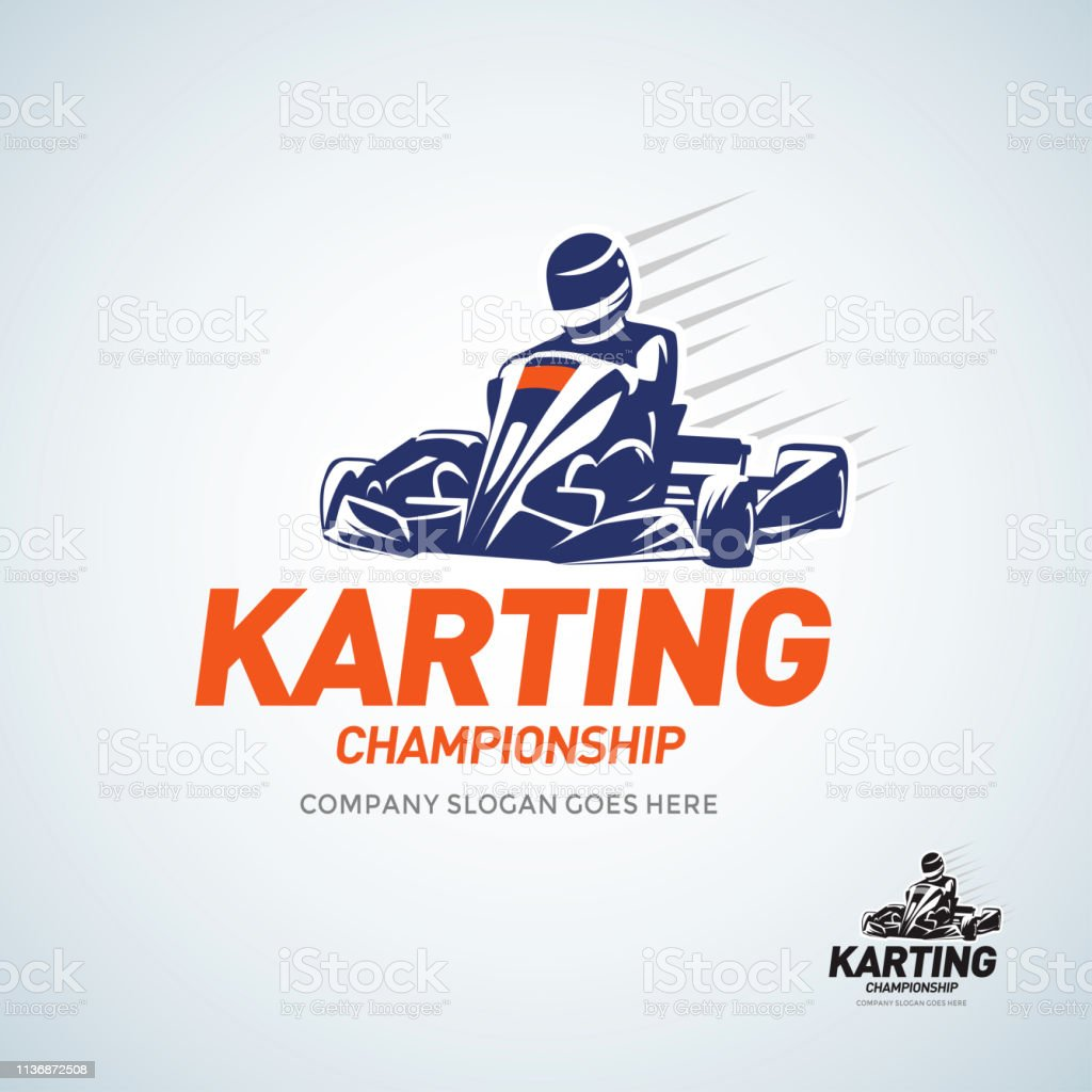 Karting Club Racing Competition Blue And Black And White Emblem