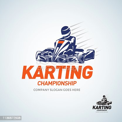 istock Karting Club Racing Competition Blue and Black And White Emblem Design Template With Rider In Kart Silhouette. 1136872508