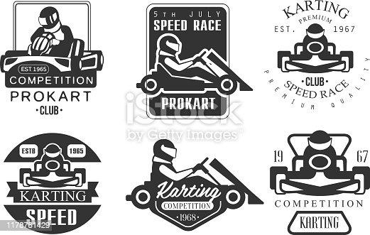 istock Karting Competition Premium Retro Labels Set, Mechanic Station, Procart Racing Club Monochrome Badges Vector Illustration 1178761429