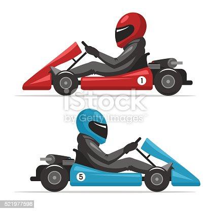 istock Karting go. Racing on sport kart driver man 521977598