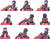Karting racers. Sport speed cars competition vector karting automobile illustrations. Extreme speed kart, auto sport