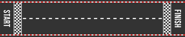Karting racing road. Start and finish lines. Asphalt road or speedway with marking in top view Karting racing road. Start and finish lines. Asphalt road or speedway with marking in top view. Vector finishing stock illustrations