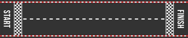 kart rennen weg. start und ziel. asphaltierte straße oder speedway mit markierung in der draufsicht - anfang stock-grafiken, -clipart, -cartoons und -symbole