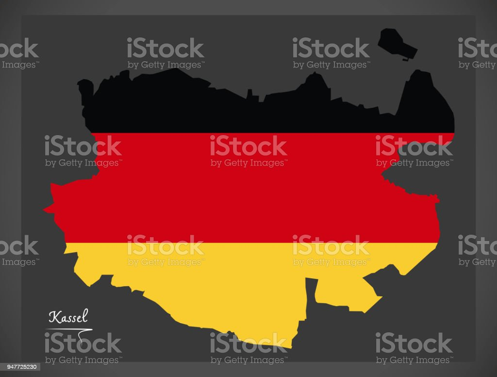 Kassel map with German national flag illustration vector art illustration