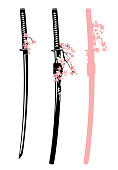 katana sword and sakura blossom vector design