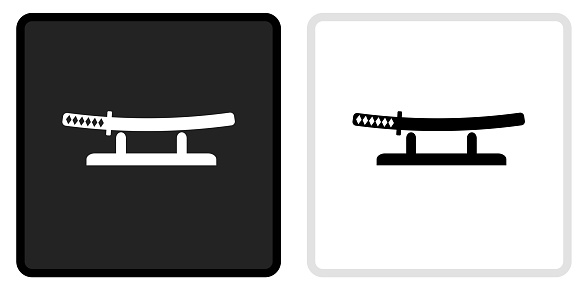 Katana Sword Icon on  Black Button with White Rollover