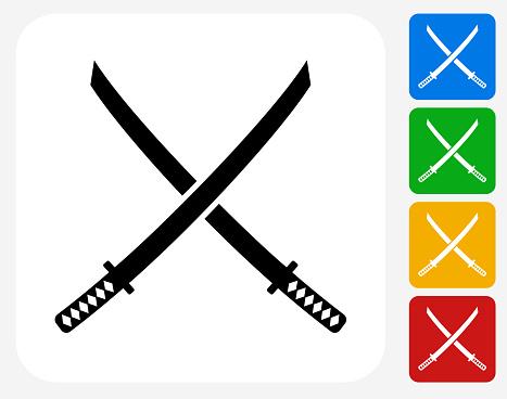Katana Swords Icon Flat Graphic Design