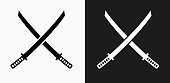 Katana Swords Icon on Black and White Vector Backgrounds