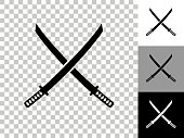 istock Katana Swords Icon on Checkerboard Transparent Background 1226474534