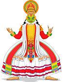 illustration of Kathakali dancer in colorful costume