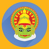 Kathakali face with heavy crown for festival of Onam celebration. Colorful vector illustration, flat style with long shadow.