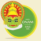 Kathakali face with heavy crown for festival of Onam celebration. Illustration for sale, banner. Stock vector