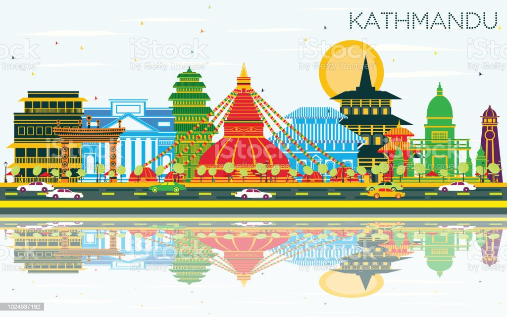 Kathmandu Nepal City Skyline with Color Buildings, Blue Sky and Reflections. vector art illustration