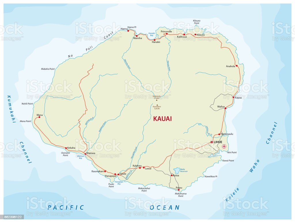 Kauai Road Map Hawaii Usa Stock Vector Art More Images of Airport