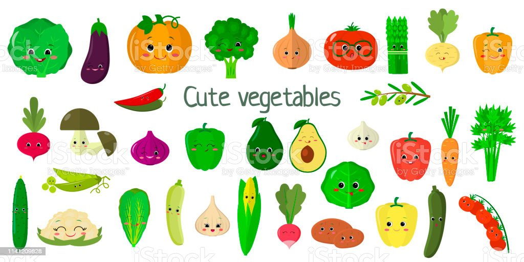 Kawai cute vegetables and herbs, the faces of the characters mega set...