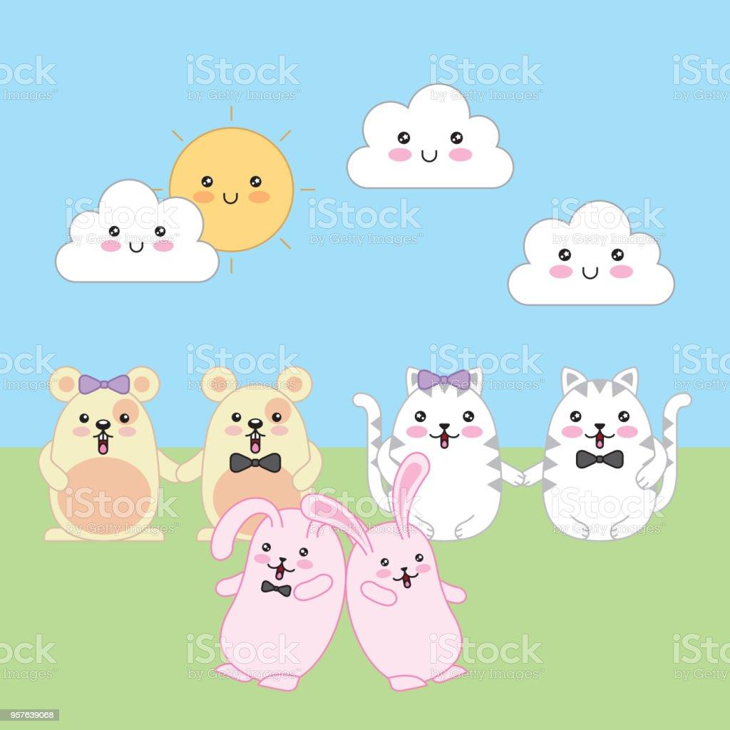 Ilustración De Dibujos Animados Animales Kawaii Y Más Banco De