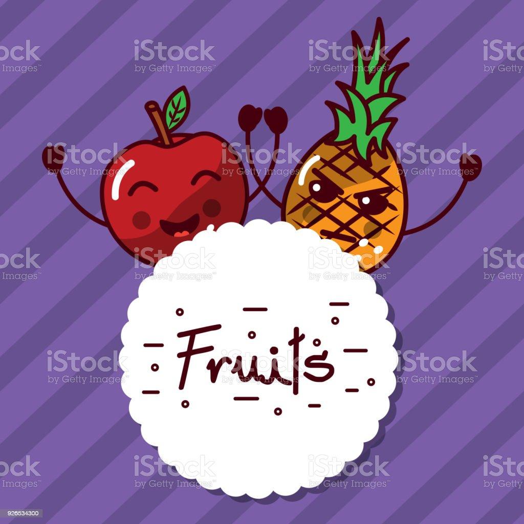 étiquette De Fruits Kawaii Pomme Ananas Dessin Animé Vecteurs Libres De Droits Et Plus Dimages Vectorielles De Agriculture