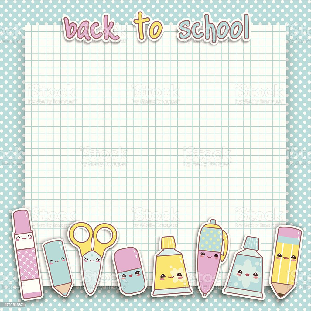 Kawaii Back to school background royalty-free stock vector art