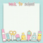 Back to school kawaii blackboard with cute original kawaii school items sticker characters. Layered and groupped, high res. jpg included. Eps 10, transprency used for shadows. Please scroll down to see my lightbox with more similar images: