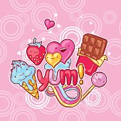 Kawaii background with sweets and candies. Crazy sweet-stuff in