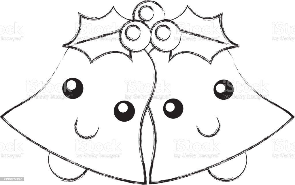 Kawaii Cloches Feuilles Dessin Animé Décoration De Noël