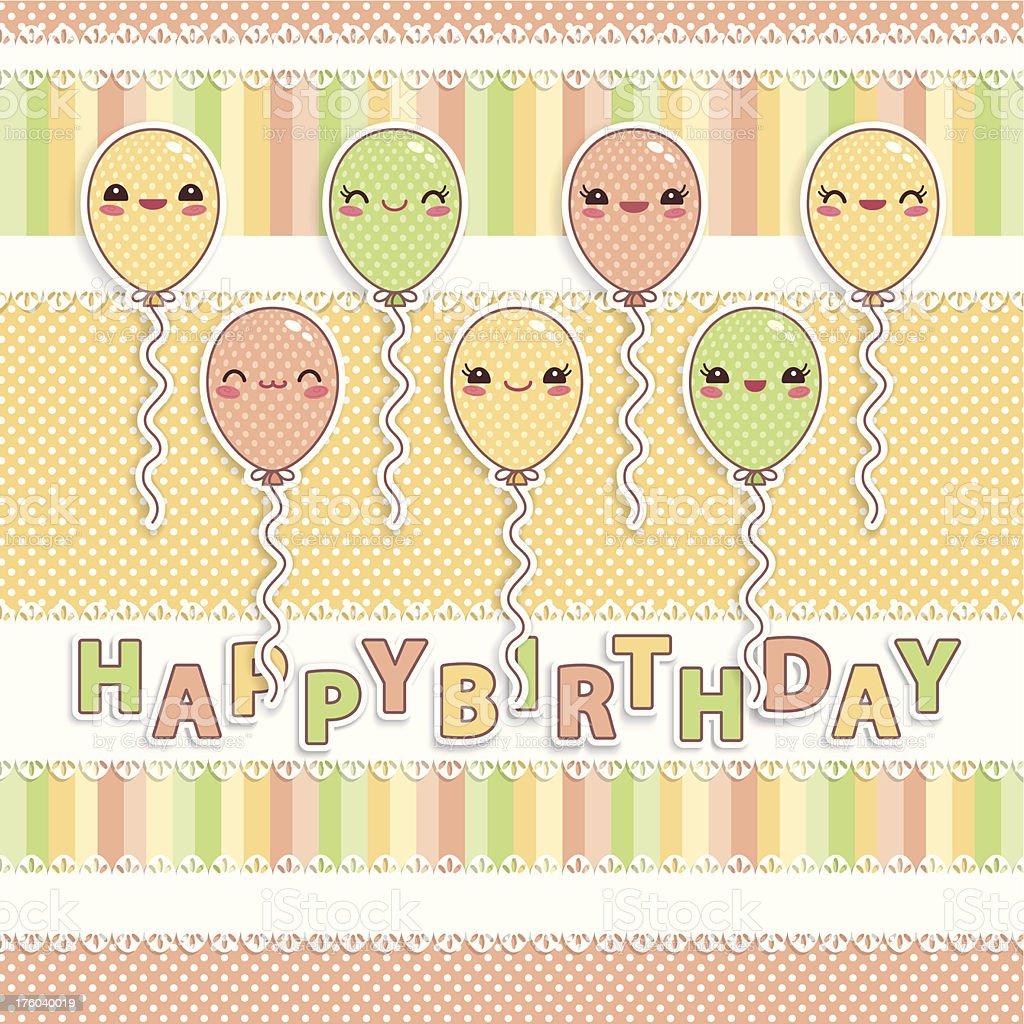 Kawaii Birthday Card royalty-free stock vector art