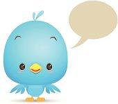 Kawaii Blue Bird with blank bubble talk icon