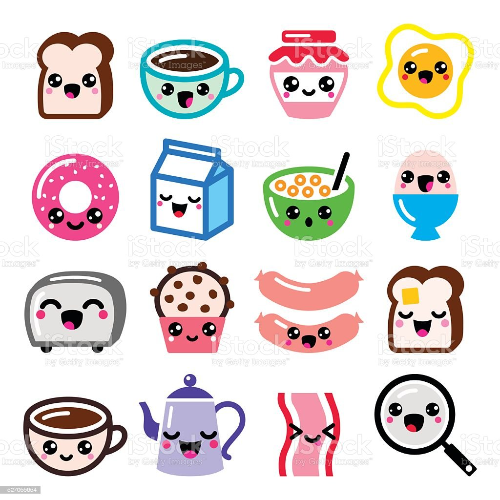 Kawaii breakfast food and beverages, cute vector icons set vector art illustration