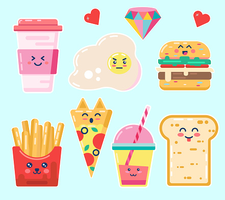 Kawaii breakfast. Various tasty food with faces Vector Set Of Cute  Anime Cartoon coffee egg humburger french fries pizza drink bread  Isolated for poster, card, flayer, postcard, calendar concept
