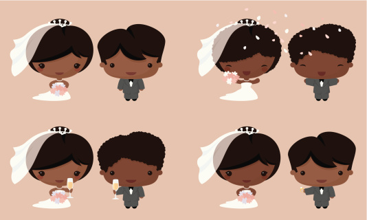Kawaii Bride & Groom African Asian