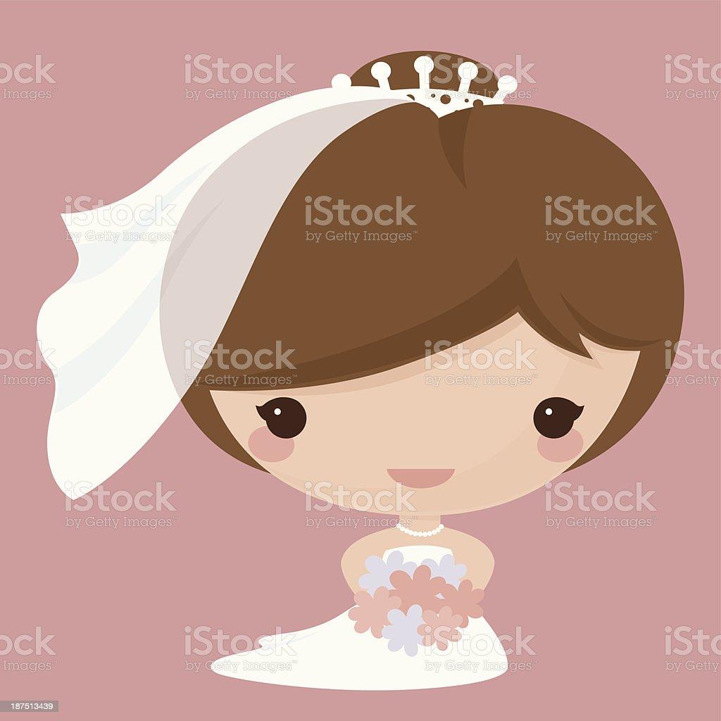 Kawaii Bride vector art illustration