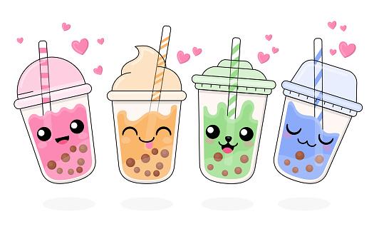 Kawaii bubble tea set Vector illustration