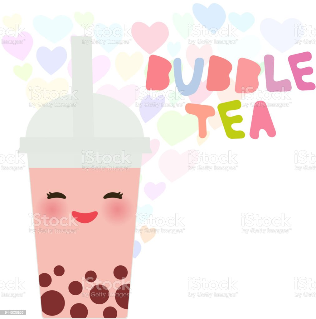 Kawaii Bubble Tea with fruits and berries. Milk Cocktails in plastic cup, tubule. Cocktail. Love heart pastel colors on white background. Vector vector art illustration
