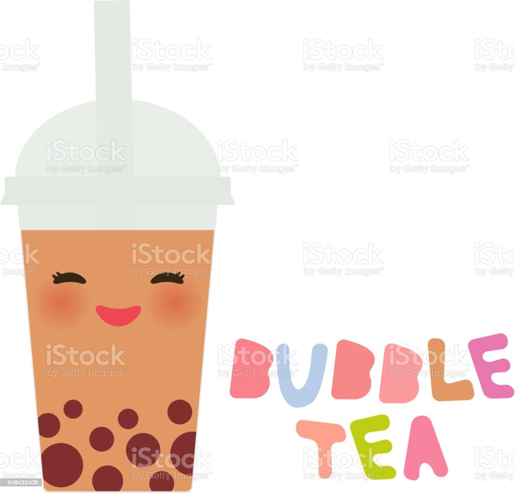 Kawaii Bubble Tea with fruits and berries. Milk Cocktails in plastic cup, tubule. Cocktail. pastel colors on white background. Vector vector art illustration