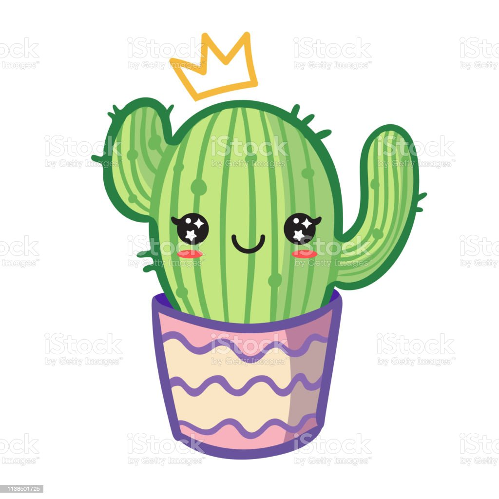 Kawaii Cactus In Flower Pot Stock Illustration - Download