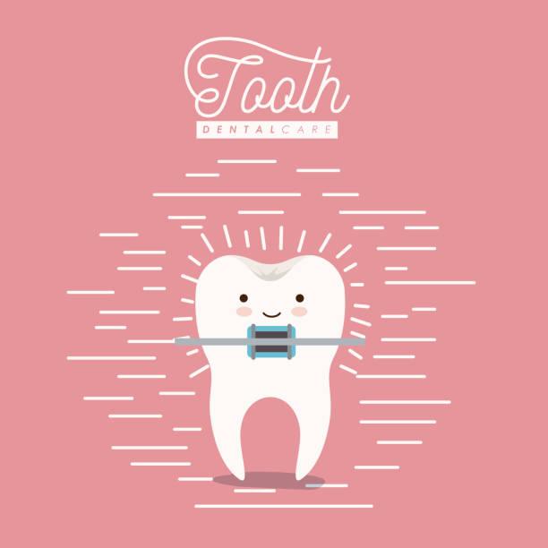 kawaii karikatur zahn mit klammer zahnpflege mit glück ausdruck auf farbe poster mit linien - manschetten stock-grafiken, -clipart, -cartoons und -symbole