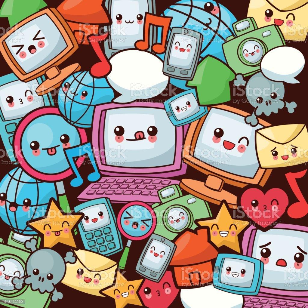 Kawaii cartoon icon set. Technology and Social media. Vector gra