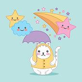 kawaii cat with umbrella clouds stars cartoon vector illustration
