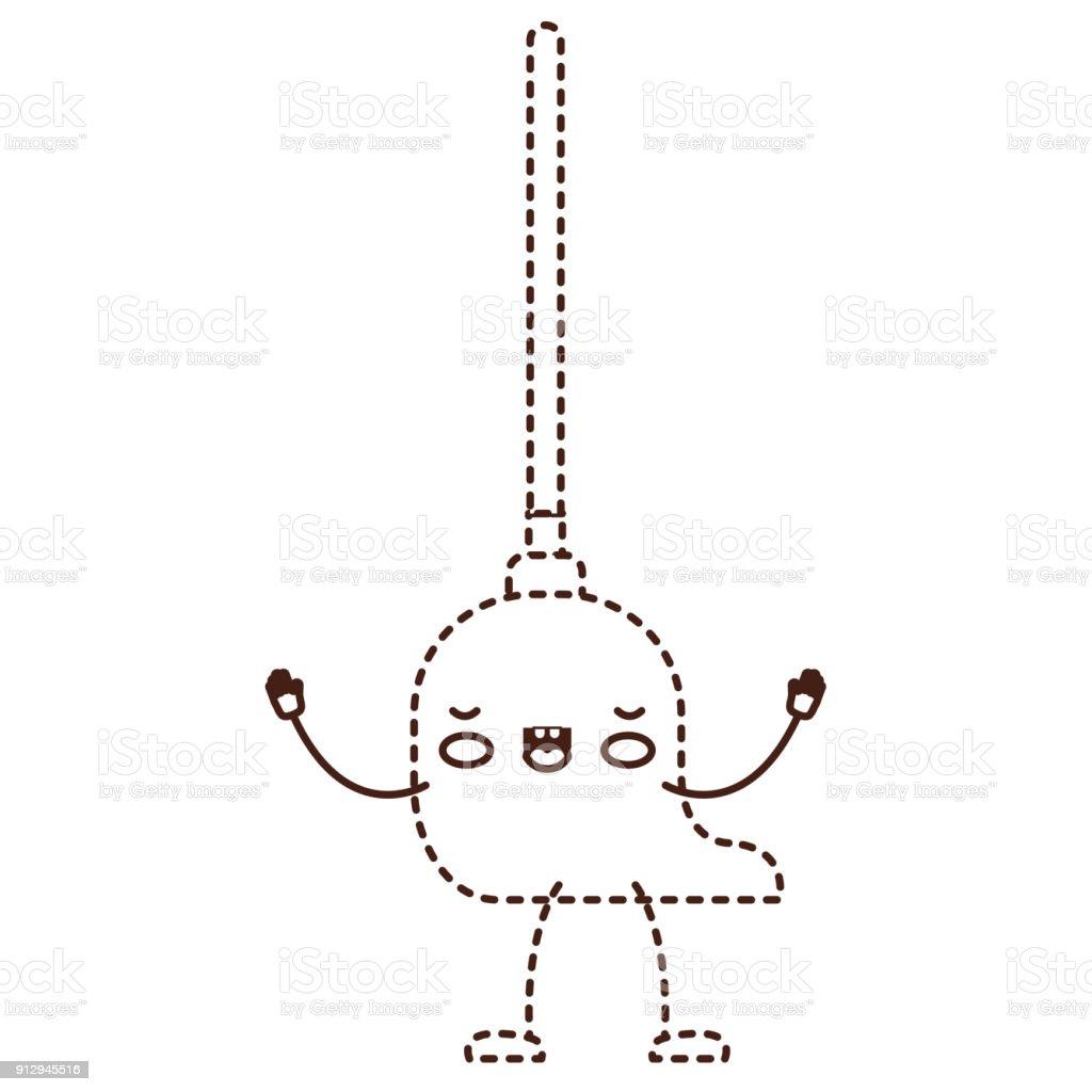 Ilustración de Kawaii Dibujos Animados De La Fregona Con Palo De ...