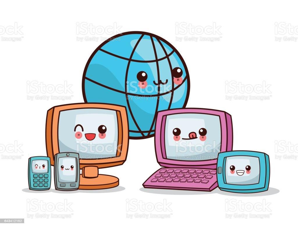 kawaii cartoon technology social vector graphic illustration