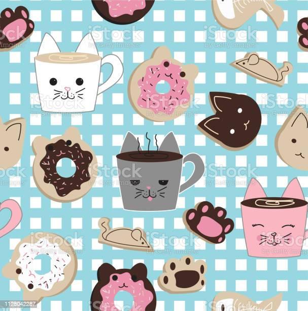 Kawaii cat cafe themed seamless vector pattern vector id1128042287?b=1&k=6&m=1128042287&s=612x612&h= kq s jowvf8qphvoxeinpnbwj25x qtliqas2xfbcw=