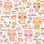 Happy Seamless Kawaii Cat Background, layered and groupped, high res. jpg incl. No trasparencies and no gradients, vector Eps 8 More: