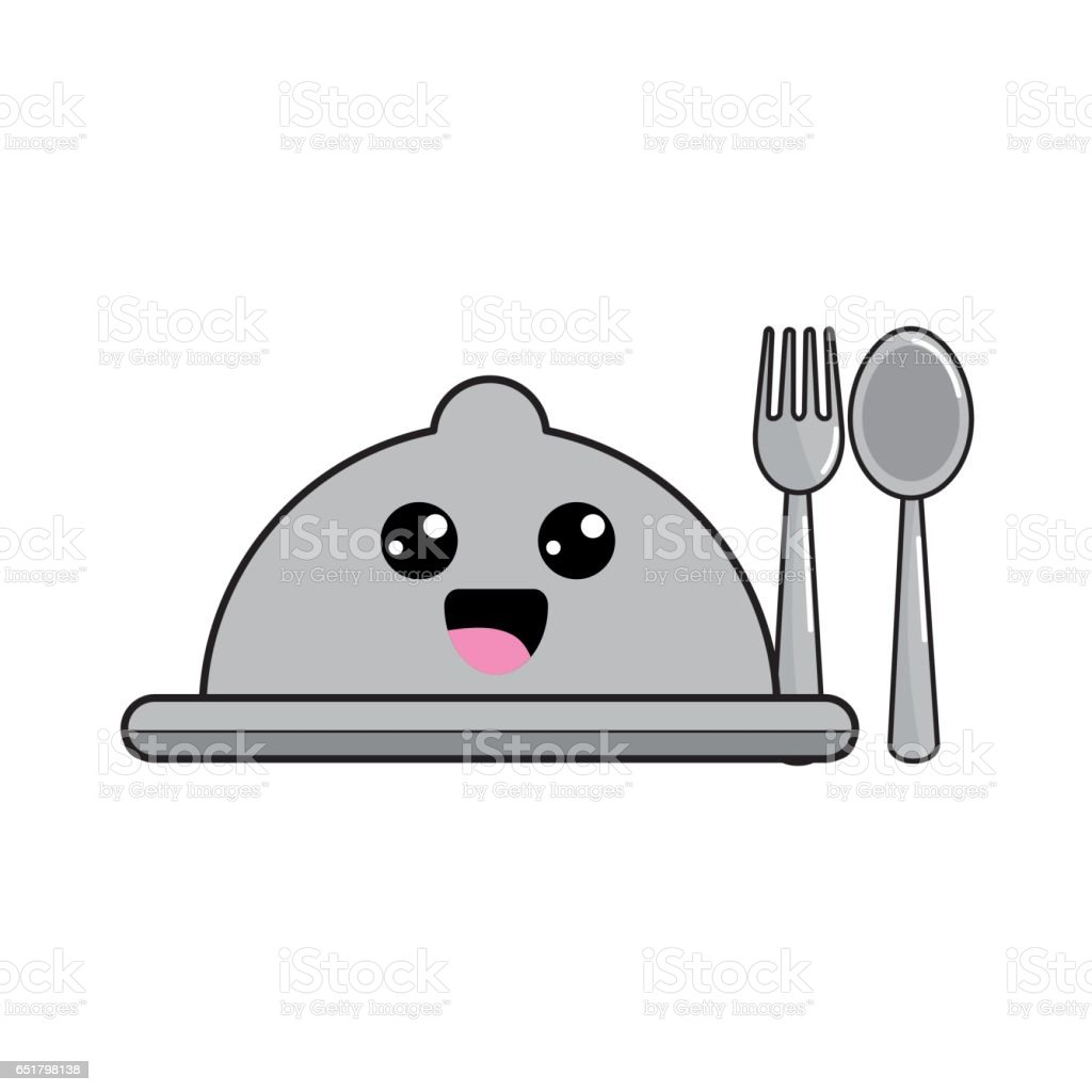 kawaii catering with spoon and fork icon vector art illustration